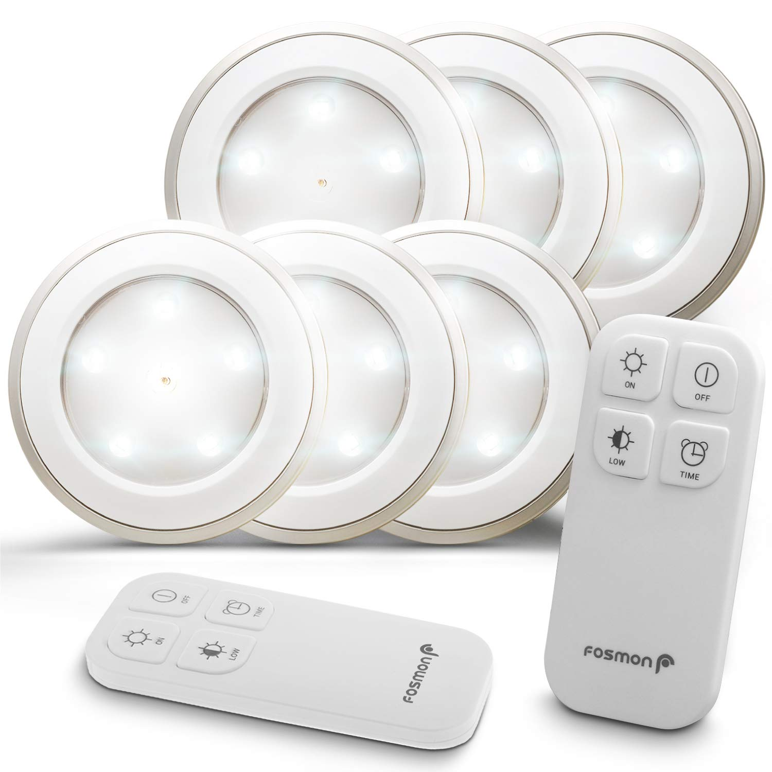 Fosmon Wireless LED Puck Light 6 Pack with Remote Control, Under Cabinet Lighting [5 Daylight White LED, Wide Floodlight Tap Style, 30-Minute Timer, Battery Operated] for Kitchen Closet Pantry Counter