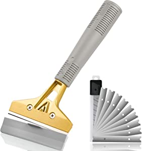 Razor Blade Scraper, 4 Inch Scraper Tool with 10pcs Extra Metal Blades, Multi Purpose Heavy Duty Scraper for Window, Glass, Floor, Wall, Stove, Paint, Caulk, Labels, Adhesive, Sticker by UnikPoint