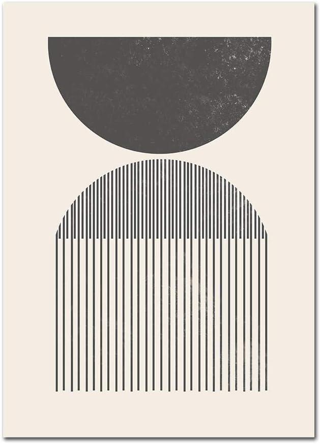 YHSM Impresiones de Mediados de Siglo en Formas geométricas clásicas Pintura Abstracta Colores neutros Carteles de Lienzo Cuadros de Pared para decoración de Dormitorio 40X60cm Sin Marco A