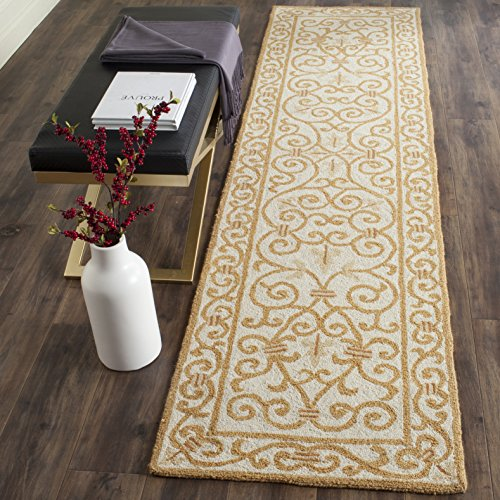 Safavieh Chelsea Collection HK11P Hand-Hooked Ivory and Gold Premium Wool Runner (2'6