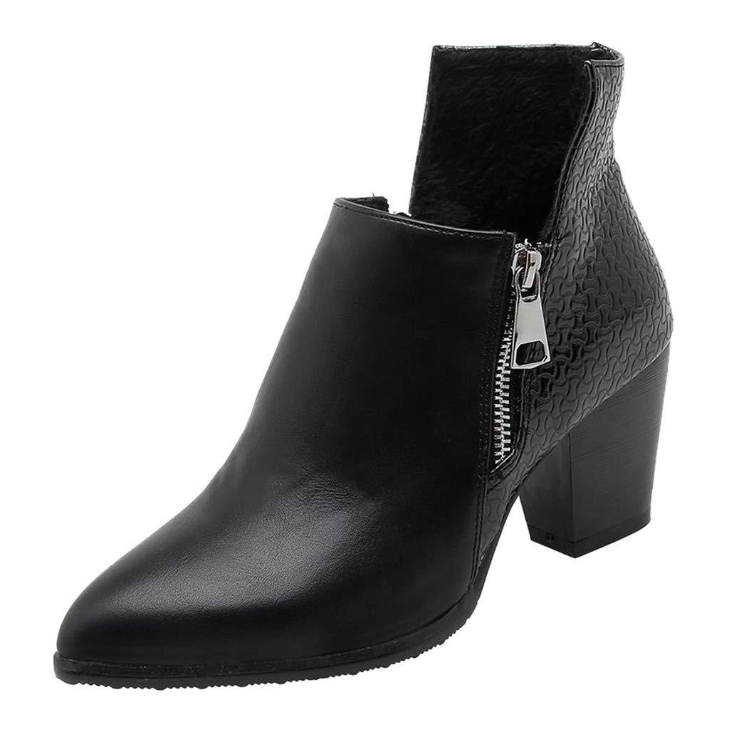 Women Ankle Boots 2019 New Chelsea Leather Wide Width Bootie Square Block Heel Side Zipper Boot (US:8.5(40), Black)