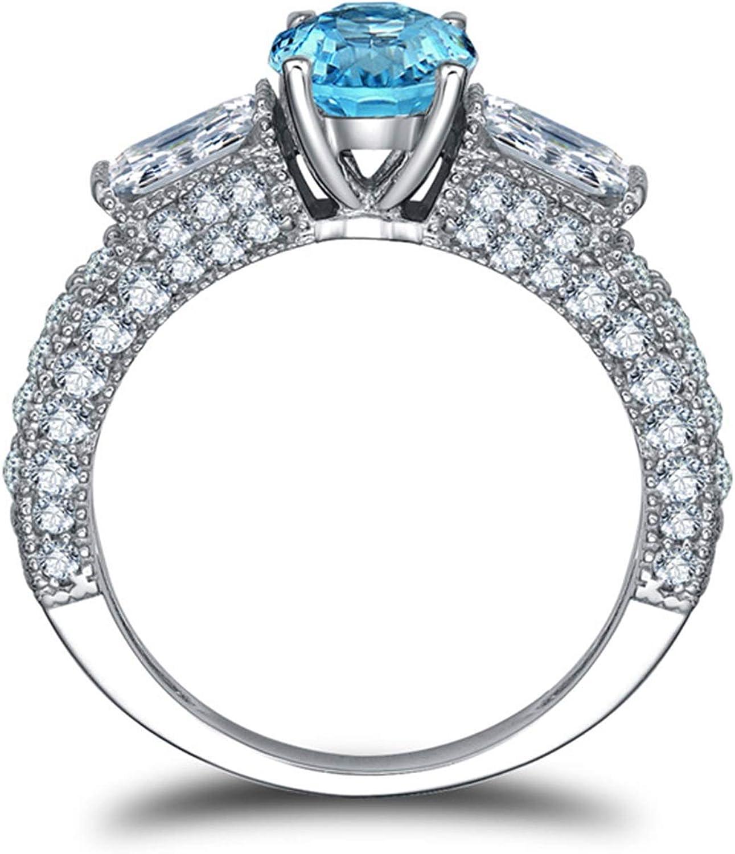 Blisfille Joyas Anillos de Compromiso de Oro Anillo de Round Anillos de Diamantes Anillo de Plata de Ley 925,Azul del Tamaño 25: Amazon.es: Joyería