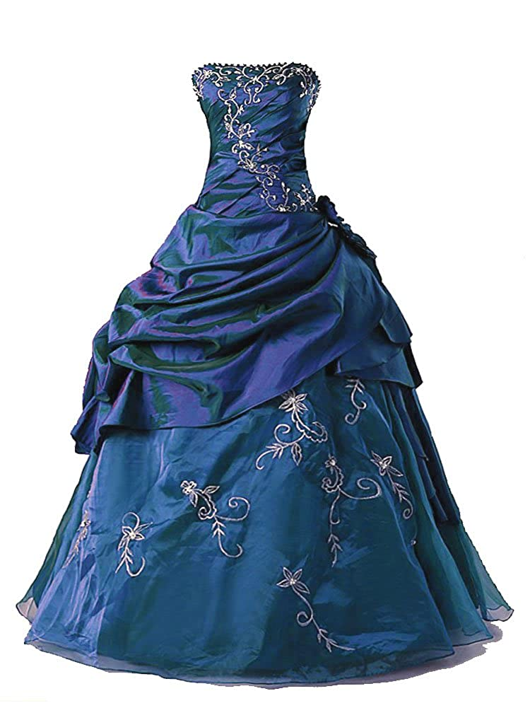 bluee Vantexi Women's Silver Embroidery Beaded Princess Evening Ball Gown