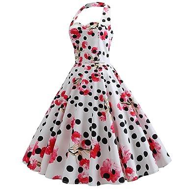 Culater Vestido Vestido De Fiesta Estilo Polka Vintage ...
