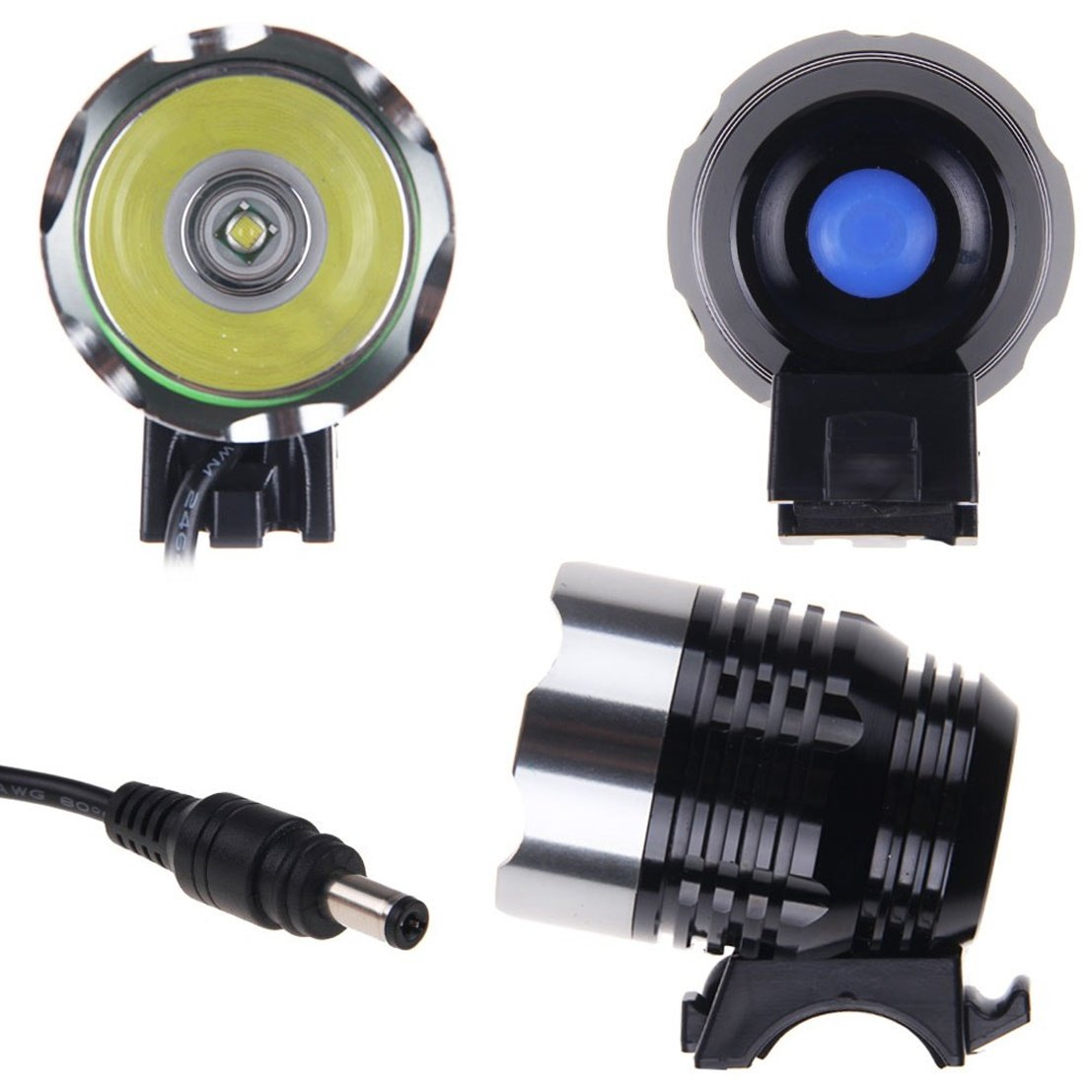 1 Pcs Extreme Popular Style 3 Modes 1800 Lumens LED Bike Lights Cycling Headlight Aluminum Torch Rechargecable Color Gray by GVGs Shop