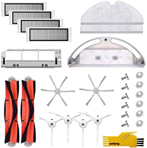 aoteng Accessory Kit for Roborock S5 S6 S50 E25 E20 E35 Xiaomi Mi Robot Robotic Vacuum Cleaner Replacement Parts Pack of Main Brush, Side Brush, Filter, Main Brush Cover, Water Tank, Mop Cloth