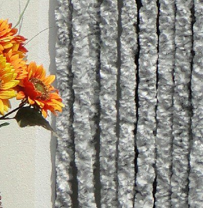619zO3CbDIL Chenille, Vlies, Türvorhang, 90 x 200 cm, Silber, weiß