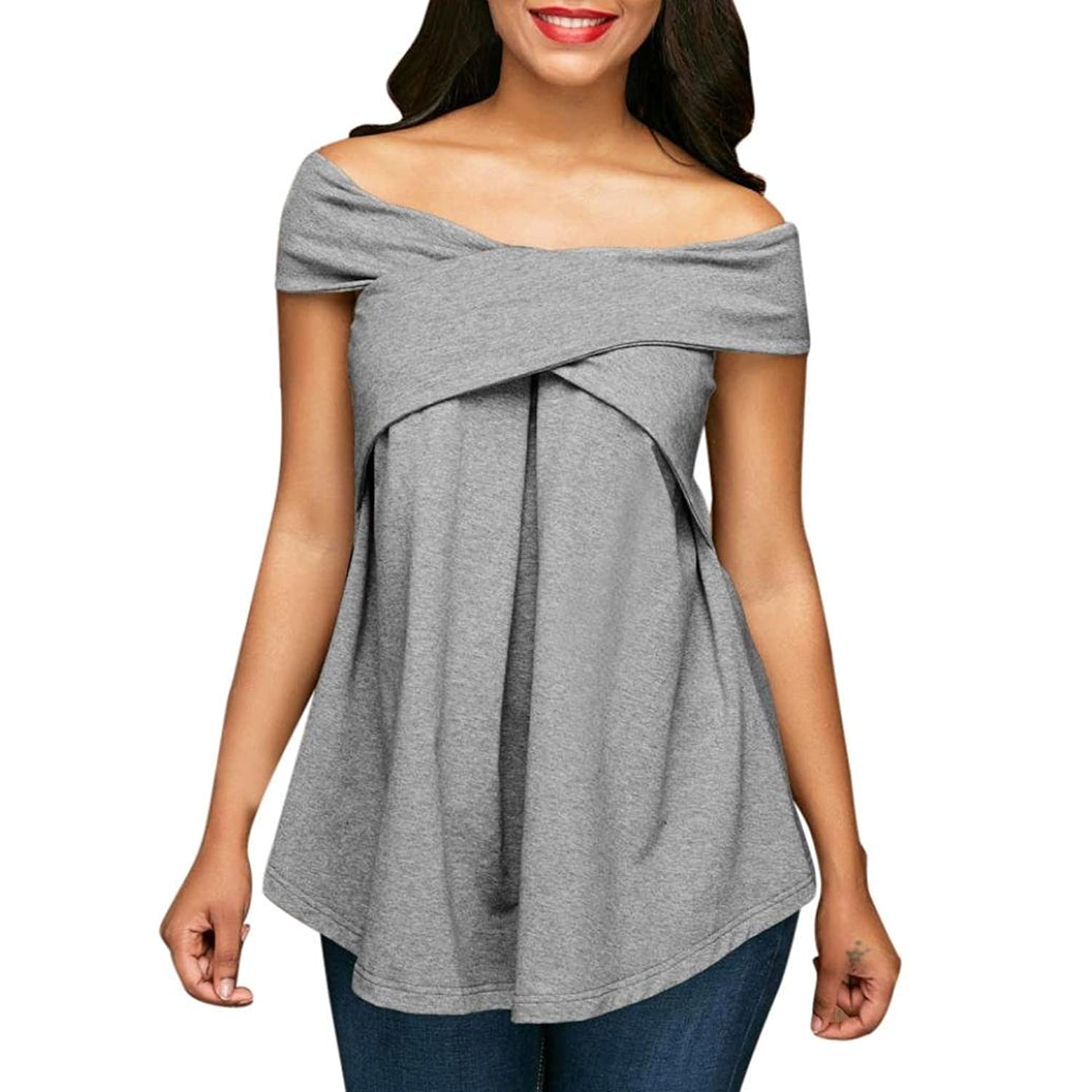 Amazon.com: DondPO Women Loose Off Shoulder Tops Short Sleeve Casual T Shirt Sweatshirt Pullover Blouse: Clothing