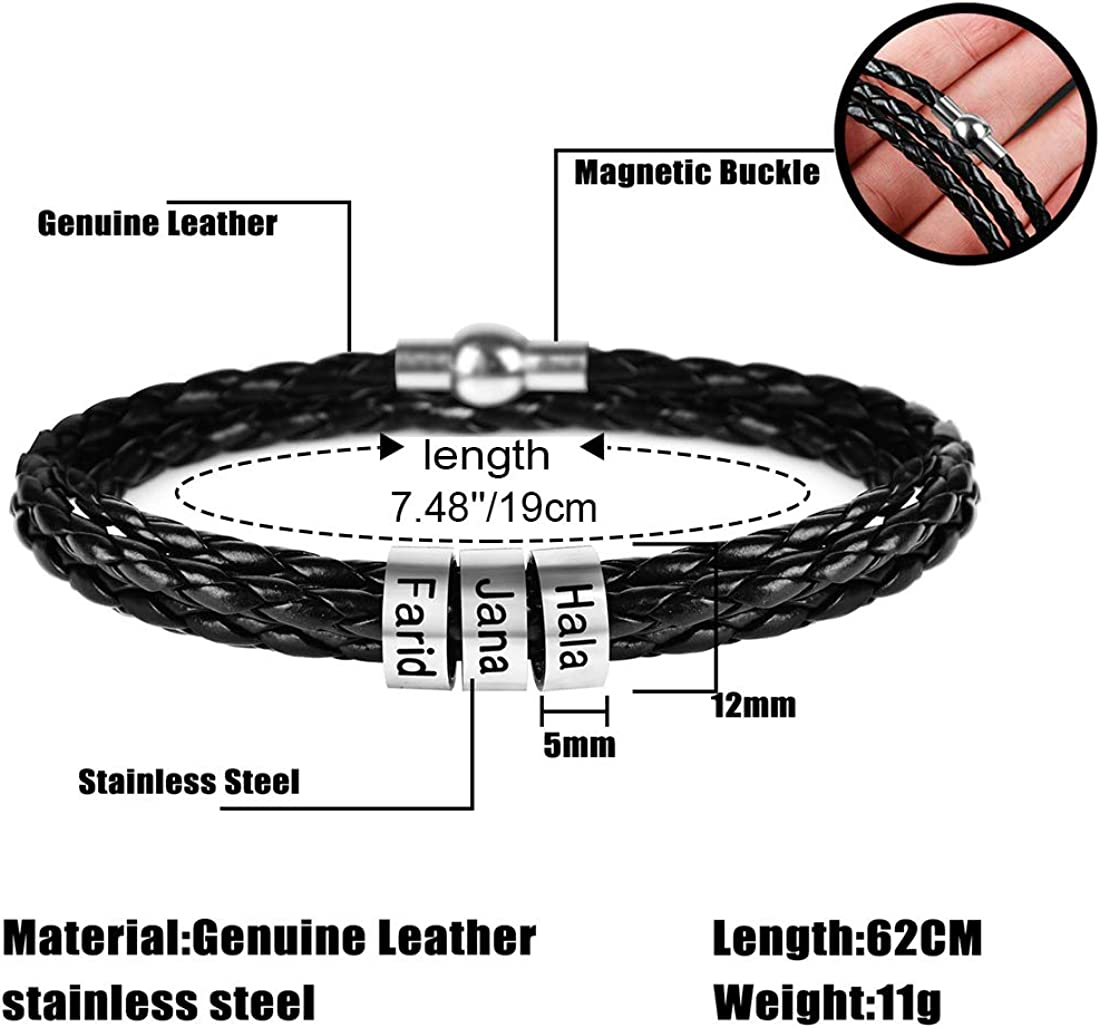 SOULSIS Mens Personalized Black Braid Leather Bracelets with 2 Names Engraved in Custom Beads Custom ID Bracelet for Men