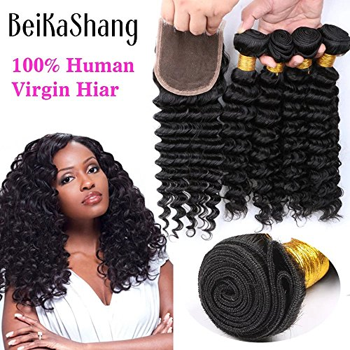 Price comparison product image BeiKaShang Brazilian Virgin Remy Deep Wave Hair 4 Bundles With 44 Lace Closure Human Hair Extensions Bundles with Free Part Closure 12 12 12 12+12