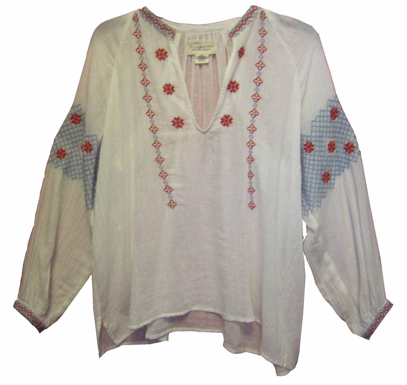 Denim & Supply Ralph Lauren Women's Embroidered Cotton Gauze Top (XL, Antique Cream)
