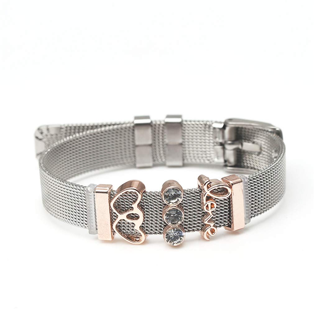XWKCHCL Stainless Steel Mesh Bracelet Love Heart Charms Fine Bracelet Bangle Woman Lovers Jewelry Gift ping