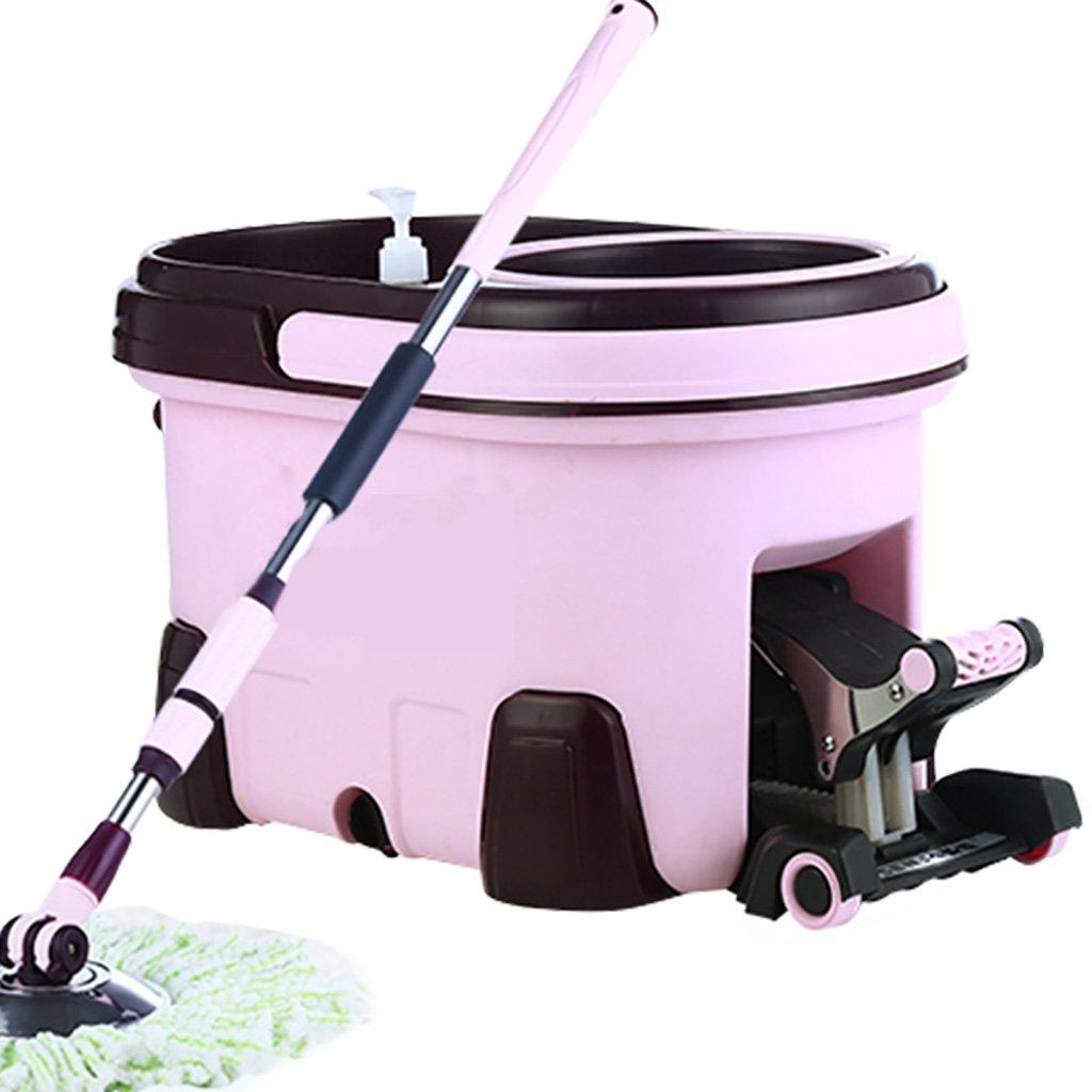 モップロータリーモップモップバケツ完全なクリーニングシステム時間と労力を節約モップ (色 : Pink) B07FPPRTD8 Pink