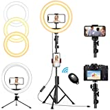 """QI-EU 12"""" Selfie Ring Light with Tripod Stand & Cell Phone Holder for Live Stream/Makeup, Dimmable Led Camera Ringlight…"""