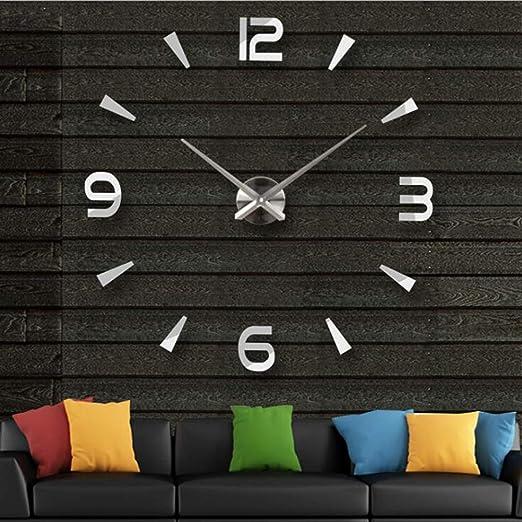 NEW square mirrored glass silver wall clock 80cm Home decor