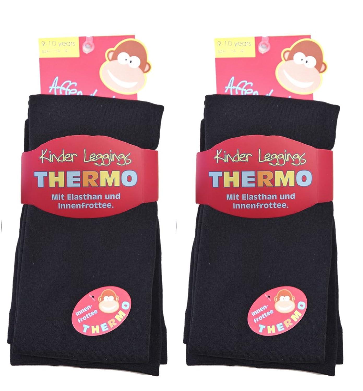2 Stück Kinder Thermo Leggings mit flauschigem Innenfleece, Vollfrottee, tolle Unifarben, Grössen 110/116 bis 146/152