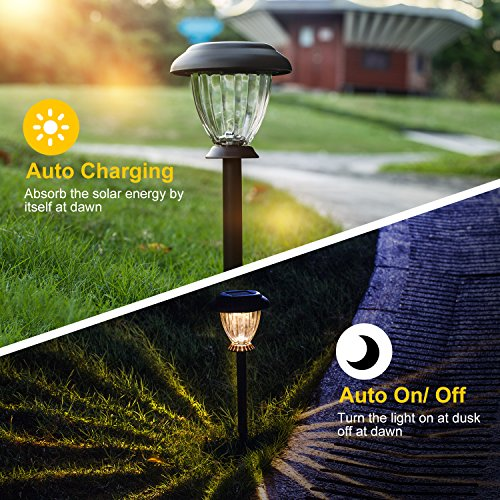 SUNWIND Solar Pathway Lights Outdoor Waterproof Glass Landscape Lights 6-Pack Warm White LED for Garden,Path,Patio Yard,Walkway and Driveway (Bronze Metal) by SUNWIND (Image #3)