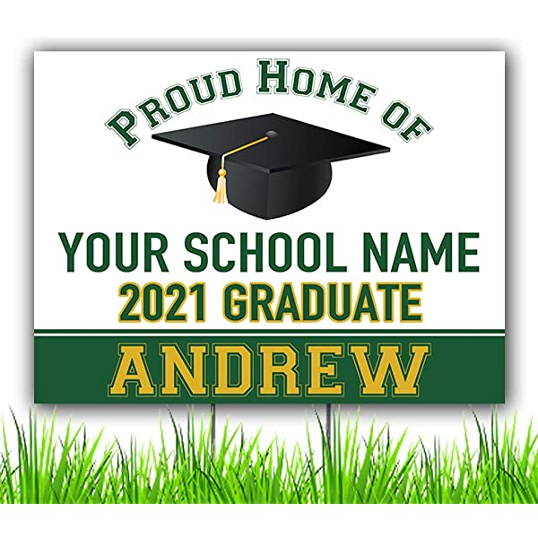 Red and Black Custom Graduation Party Personalized Lawn Sign Congratulations Class of 2020 Graduate Personalized Yard Sign with Metal Stake