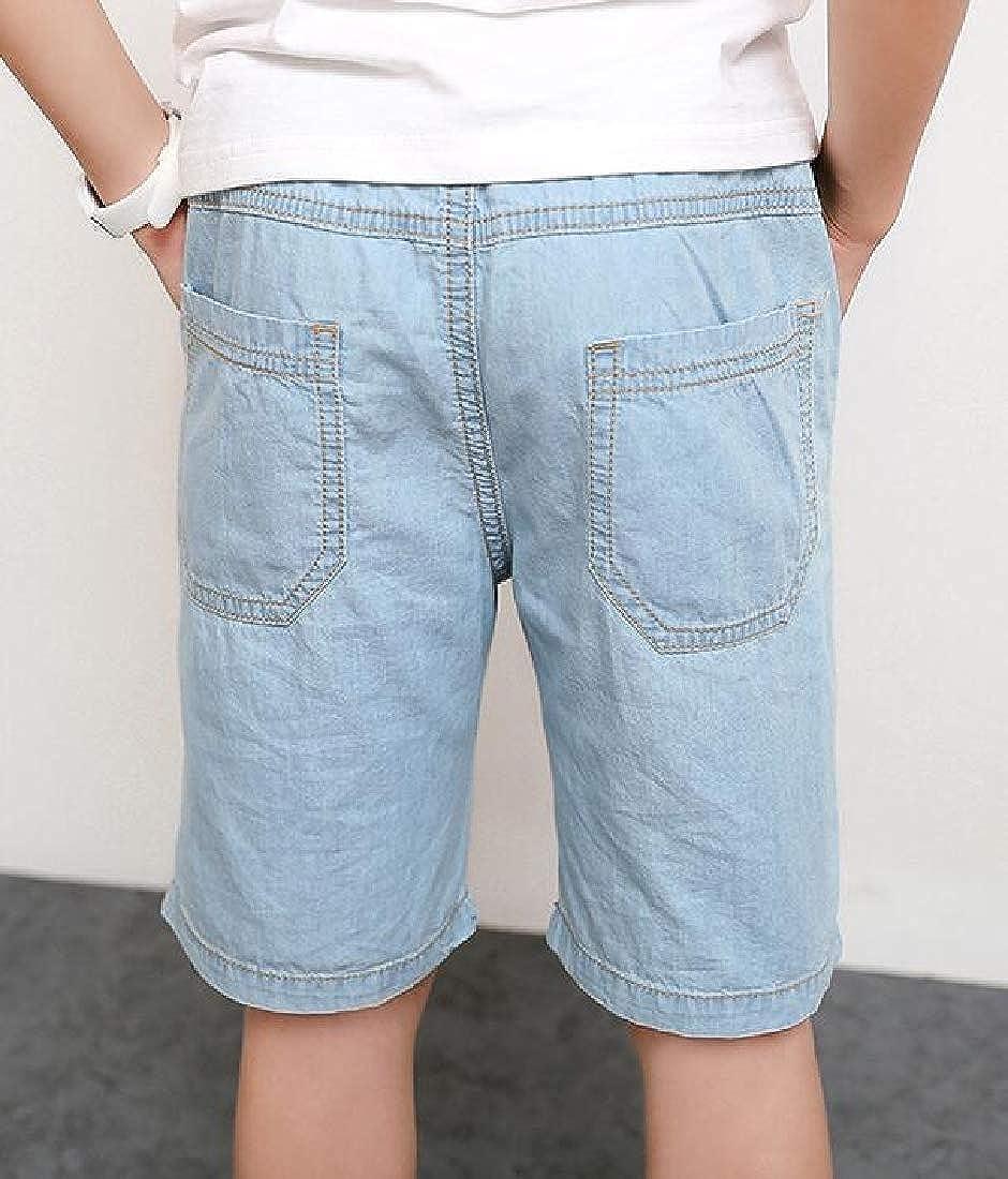 Lutratocro Boys Elastic Waist Knee Length Pockets Faded Hot Denim Shorts