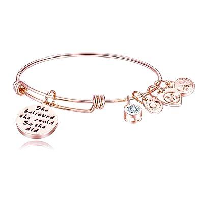 Charmire Bracelet Jonc Femme Plaque Or Rose Fil D Inspiration