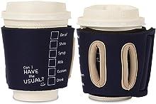 Objectiboo!(オブジェクティブー)通せるカップスリーブ the Usual ネイビー(保温性・断熱性のある取手付きコーヒースリーブ・コンビニコーヒーカップなどに対応・アイスコーヒーにも使用可)