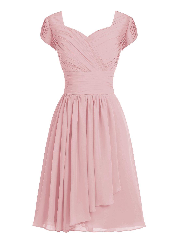 TideClothes ALAGIRLS Short Bridesmaid Dress Chiffon Prom Evening Dress Cap Sleeves Blush US16