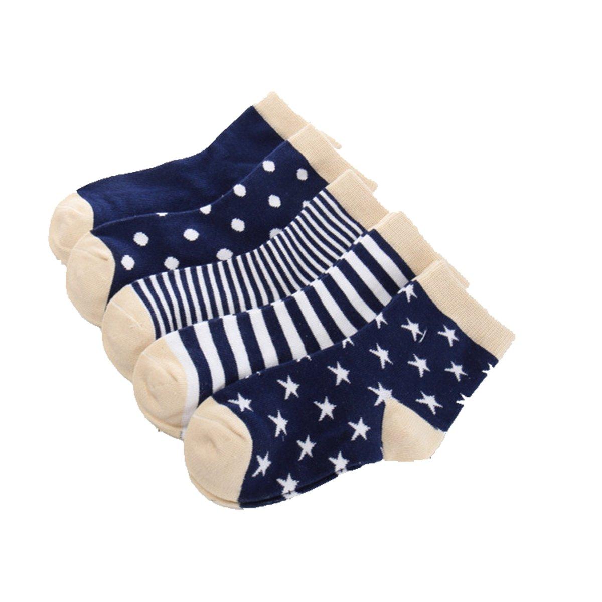 Little Boys Socks Cotton Beauty Stars Comfort Crew Socks 5 Pair Pack