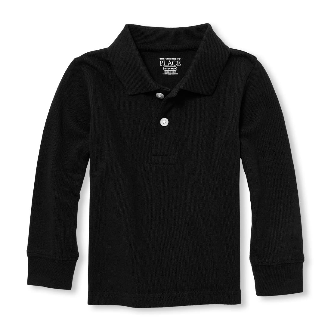 The Children's Place Baby Boys' Toddler Long Sleeve Uniform Polo, Black, 2T