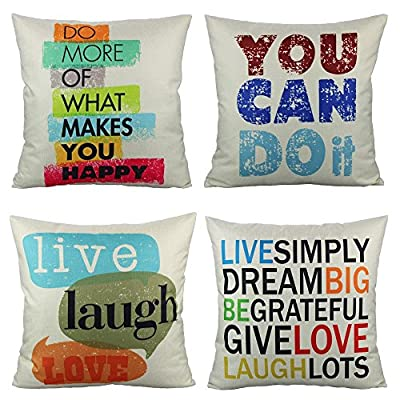 VAKADO Inspirational Quotes Saying Outdoor Throw Pillow Covers Colorful Decorative Words Letters Cushion Cases Home Decor for Couch Sofa Office 18x18 Inch Set of 4 - Pattern: Colorful Inspirational Sayings (You can do it, Live Simply Dream Big Be Grateful Give Love Laugh Lots, Do more of what makes you happy, Live Laugh Love);BEIGE Background. Size: 18x18 Inches (about 45x45 cm); Qty: 4pcs (only cover, no insert) Perfect encouraging gift for men, women, kids, teens, friends and so on; Perfect Decoration for Sofa, Couch, Bed, Bedroom, Living room, Patio, Office, Library, Car, Shop, Outdoor and so on. - patio, outdoor-throw-pillows, outdoor-decor - 619zT%2BODTmL. SS400  -