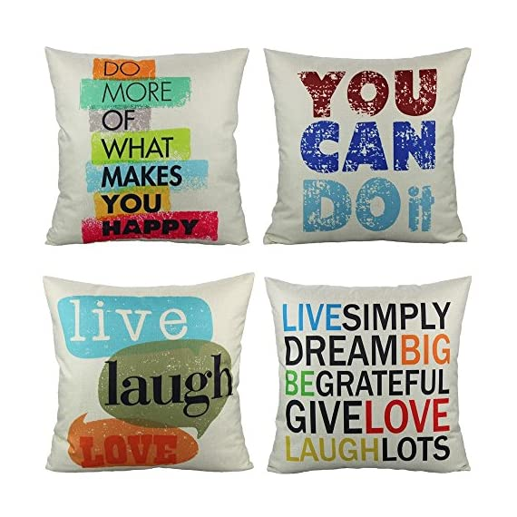 VAKADO Inspirational Quotes Saying Outdoor Throw Pillow Covers Colorful Decorative Words Letters Cushion Cases Home Decor for Couch Sofa Office 18x18 Inch Set of 4 - Pattern: Colorful Inspirational Sayings (You can do it, Live Simply Dream Big Be Grateful Give Love Laugh Lots, Do more of what makes you happy, Live Laugh Love);BEIGE Background. Size: 18x18 Inches (about 45x45 cm); Qty: 4pcs (only cover, no insert) Perfect encouraging gift for men, women, kids, teens, friends and so on; Perfect Decoration for Sofa, Couch, Bed, Bedroom, Living room, Patio, Office, Library, Car, Shop, Outdoor and so on. - patio, outdoor-throw-pillows, outdoor-decor - 619zT%2BODTmL. SS570  -