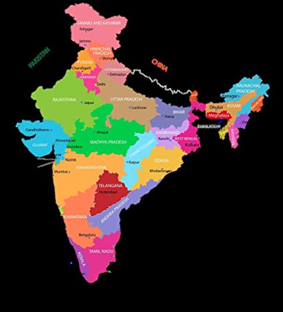 Amazon.com: Gifts Delight Laminated 24x26 Poster: India Map ...