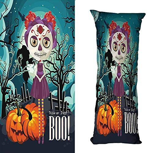 duommhome Halloween Simple Pillowcase Cartoon Girl with Sugar Skull Makeup Retro Seasonal Artwork Swirled Trees Boo Suitable for Hair and Skin Health W15.7X L47.2 inch Multicolor -