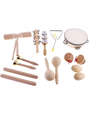 Homyl Bebés Niños Instrumento Musical Palillo De Madera Sonajero De Mano Dedo De Campana Castañuela Sonda
