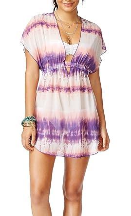 9feede9e6d Miken Women's Smocked Tie-Dye Sheer Cover-Up at Amazon Women's ...