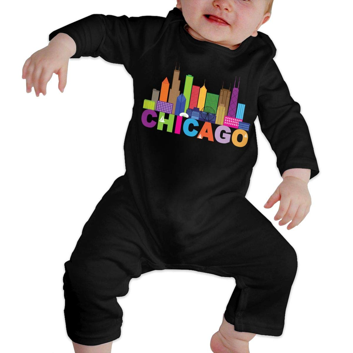 Unisex Baby Round Neck Long-Sleeve Solid Color Onesie Chicago City Silhouette Jumpsuits Sleepwear
