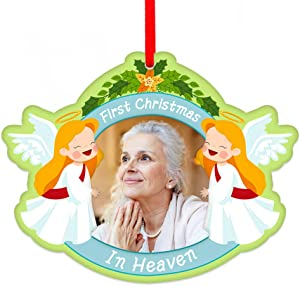 "SICOHOME First Christmas in Heaven Christmas Ornament, 3"" x 3.5"" Angel Memorial Picture Christmas Ornament,in Memory Frame Ornament for A Loving One"