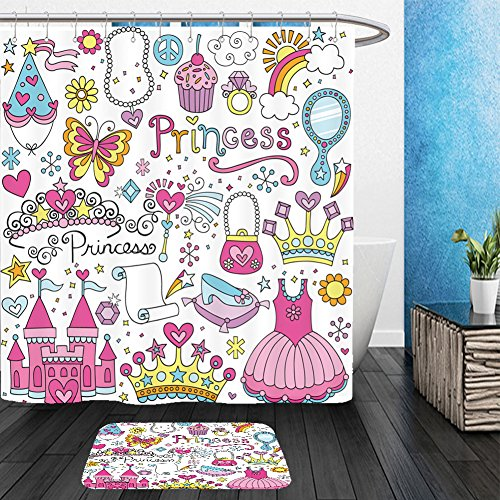 Vanfan Bathroom 2 Suits 1 Shower Curtains &  1 Floor Mats princess ballerina tiara groovy fairy tale notebook doodles set with tutu dress crown magic wand 126933701 From Bath (Tutus Australia)