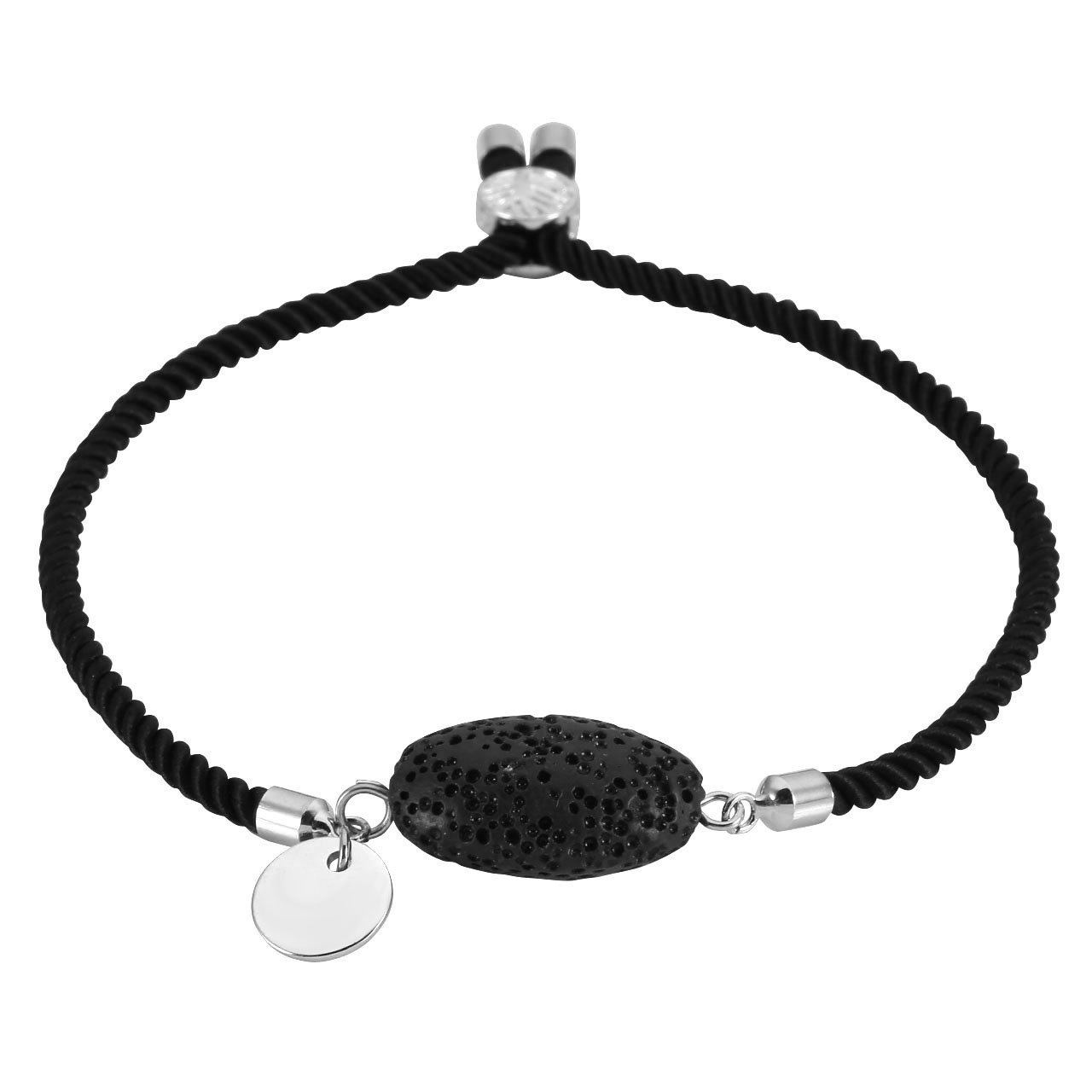 Top Plaza Custom Personalized Engraved Name Word Oval Lava Rock Stone Essential Oil Diffuser Adjustable Rope Bracelet for Womens Girls - Black