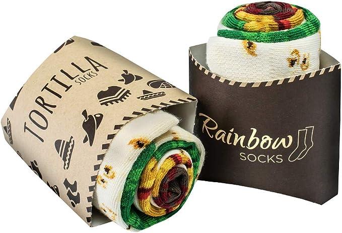 Rainbow Socks - Hombre Mujer Calcetines de Tortilla Wraps - 2 Pares: Amazon.es: Ropa y accesorios