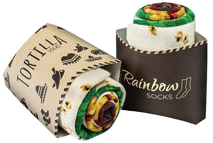 Rainbow Socks - Hombre Mujer Calcetines de Tortilla - 2 Pares: Amazon.es: Ropa y accesorios