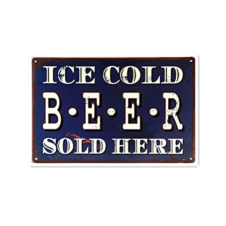 Shunry Ice Cold Beer Sold Here Placa Cartel Vintage Estaño ...