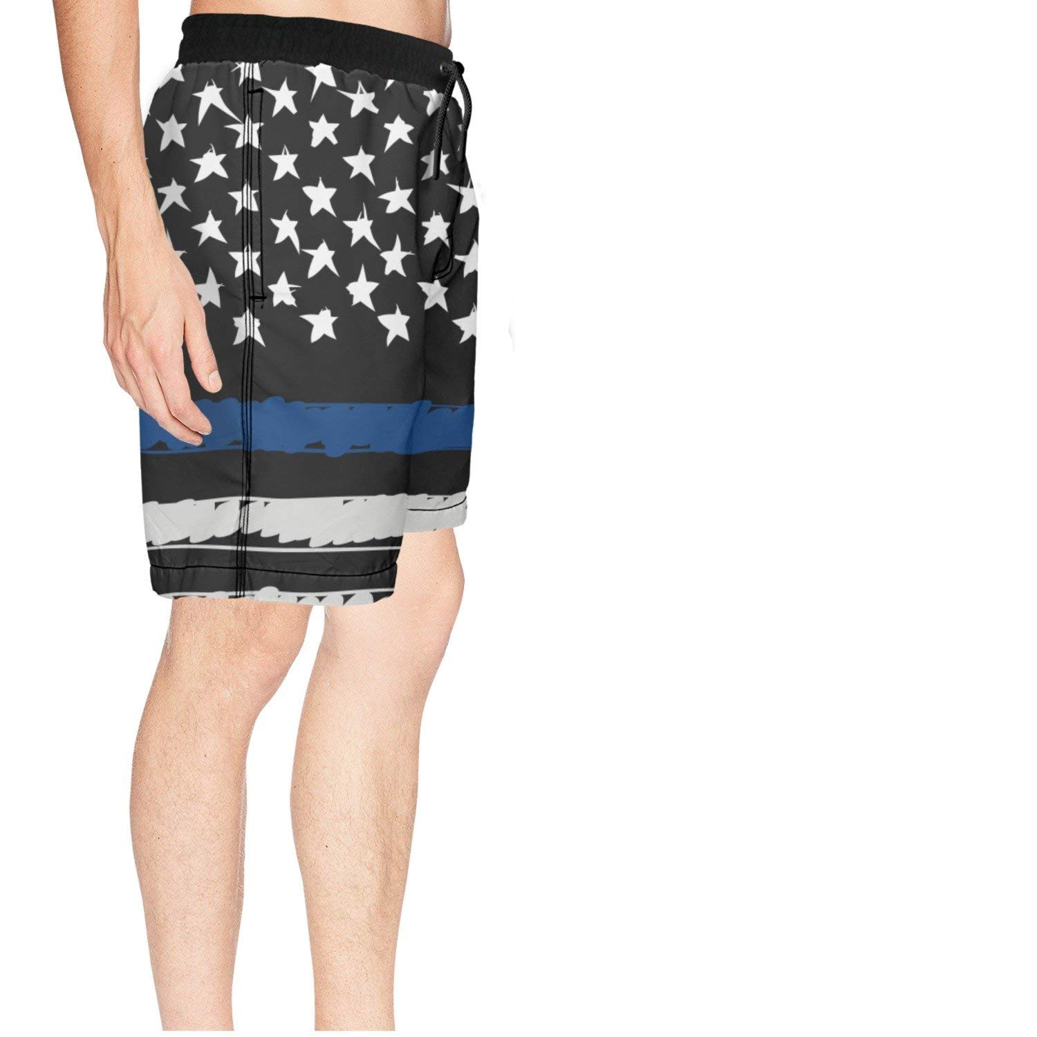 COLSHOORTS America Thin Blue Line Flag Men Hawaiian Shorts Quick Dry Swimming 3D Printed Elastic Beach Trunks Aloha Short with Pocket
