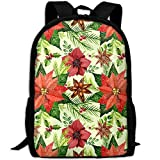 Poinsettia Flower Christmas Fashion Outdoor Shoulders Bag Durable Travel Camping Backpack For Adult