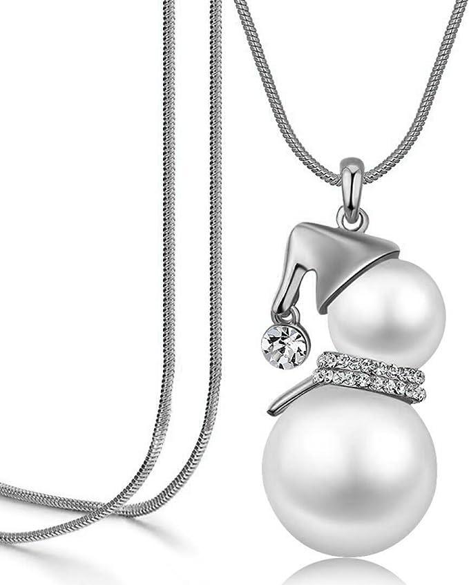 Amazon.com: Cute Snowman Pendant Long Necklace for Women Pearl Jewelry Santa Claus: Clothing