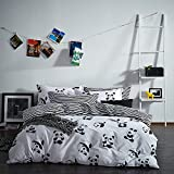Alicemall Black and White Bedding Lovely Panda and Stripes Print 4-Piece Duvet Cover Sets, Soft Cotton 4 pcs Bedding Set, Full Size (Full, Cute Panda)
