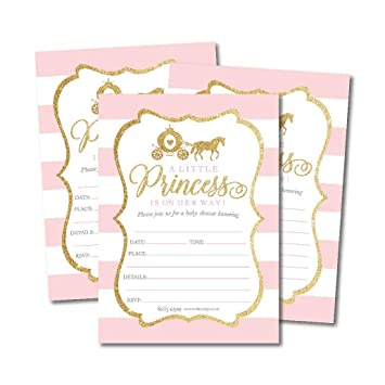 Amazon 25 Little Princess Baby Shower Invitations Pink Gold
