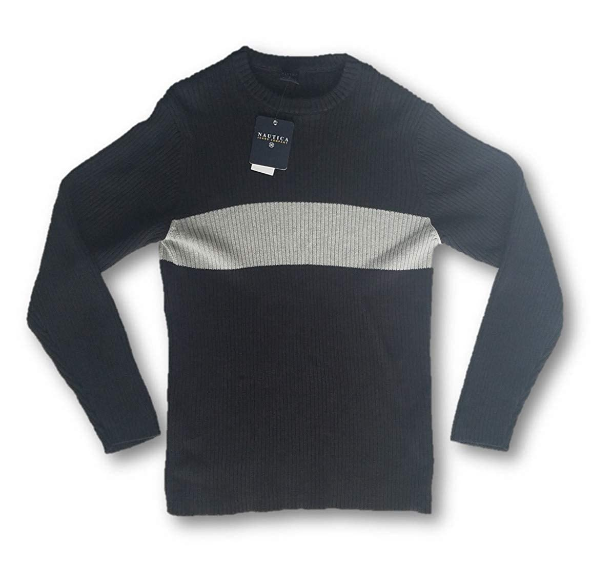 X-Large Charcoal Grey Nautica Mens Crew Neck Ribbed Sweater