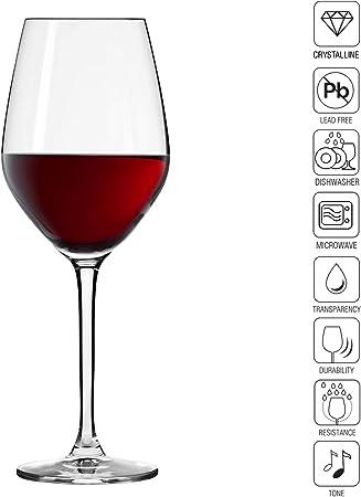 Krosno Pequeño Copas de Vino Tinto | Conjunto de 6 Piezas | 300 ML | Splendour Collection Uso en Casa, Restaurante y en Fiestas | para Microondas y Lavavajillas