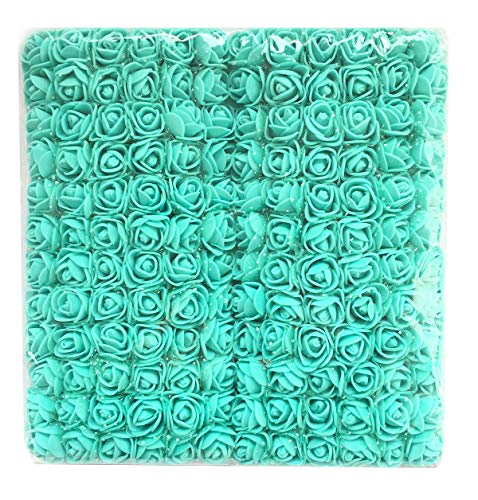 (Charmly Mini Fake Rose Flower Heads 144pcs Little Artificial Roses DIY Flowers Accessories Home Wedding Party Craft Art Decor Bottom add Gauze Tiffany Blue)