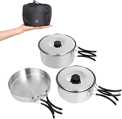 Dilwe Solo Cook Pot Portable Stainless Steel Cookware Companion Pan Set for Camping Picnic Backpacking